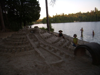 Children playing in the sand Temagami region