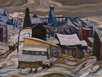 Ontario Mining Town, Cobalt, A.Y. Jackson, 1933. Oil on wood